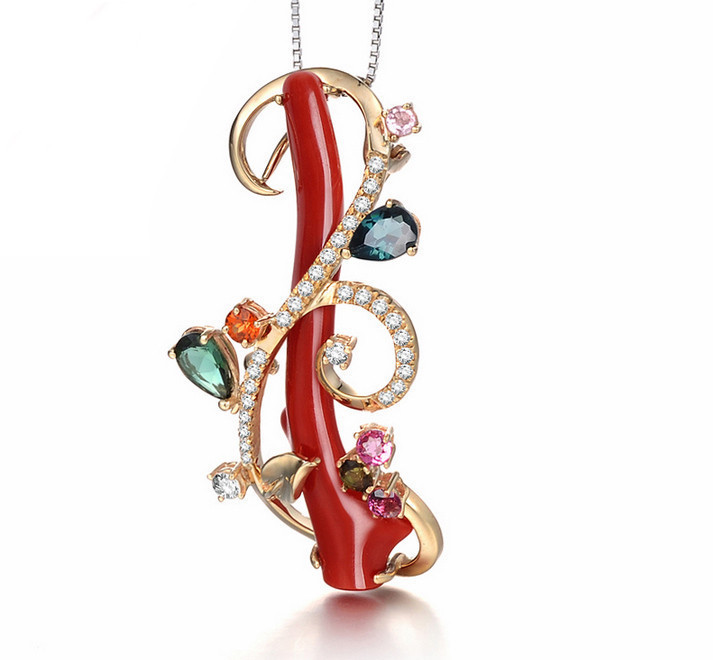 lisa creation-14k黄金钻石碧玺珊瑚吊坠/珊瑚树枝胸针吊坠两用 您