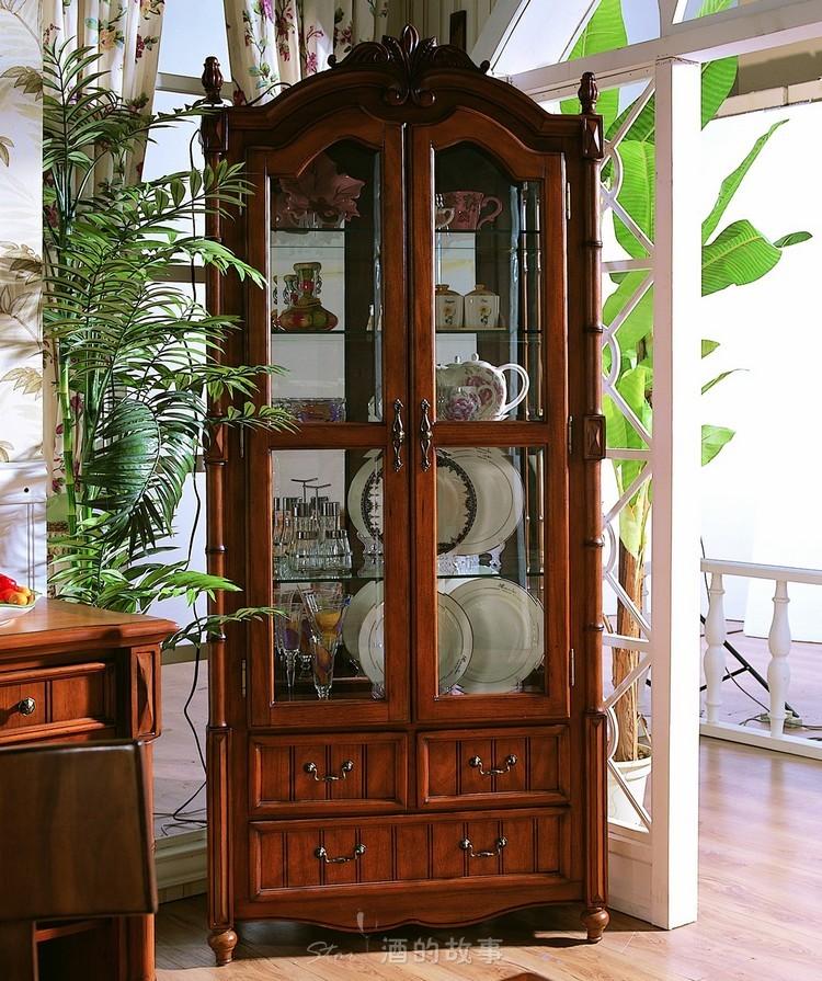 现代时尚欧式家具实木酒柜红酒展示柜子