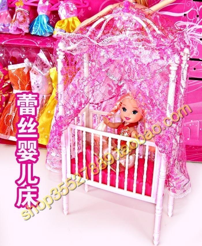 芭比娃娃家具床 蕾丝婴儿床 小女孩玩具 生日礼物 http://mogujie.