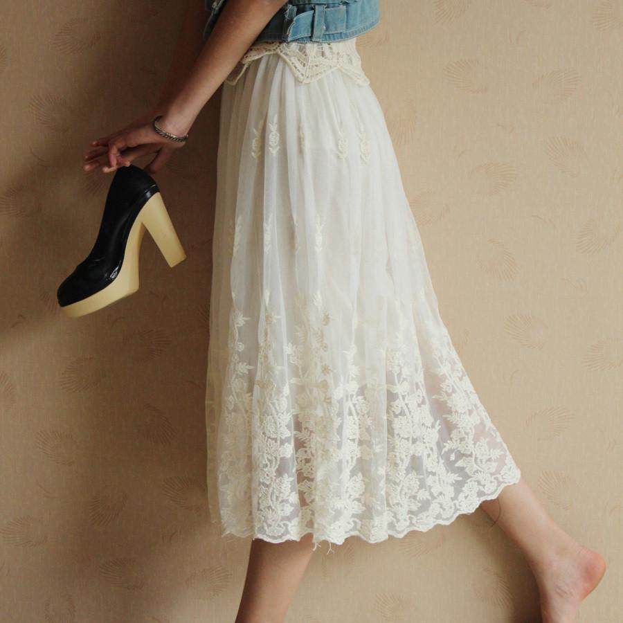 韩国原单 夏装新款花朵蕾丝裙刺绣白色蕾丝长裙 网纱长裙半身裙子 htt