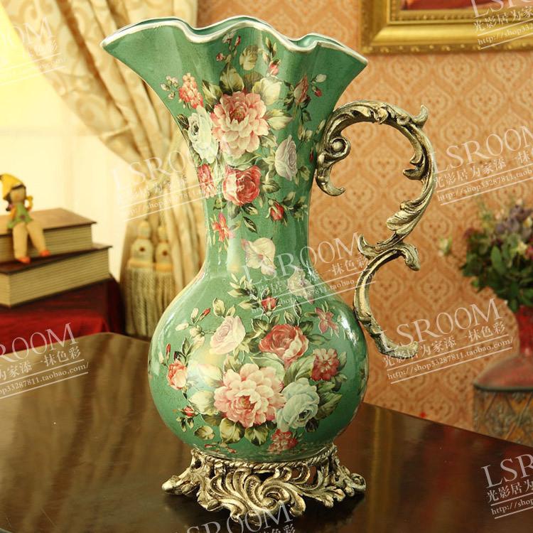 欧式宫廷复古花瓶 陶瓷 摆件 大 古典 客厅 欧式 大花瓶