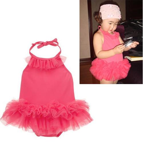 女宝宝玫红色粉红色吊带裙子泡泡纱蛋糕裙哈裙a473