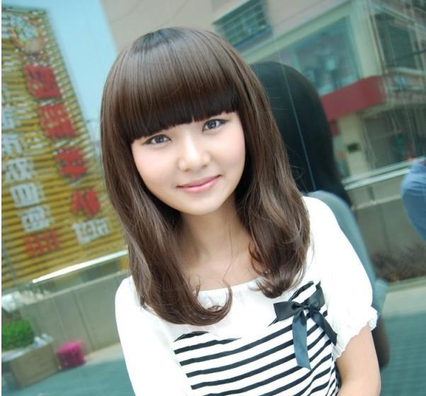 非主流甜美气质女款梨花头齐刘海直发微卷中长发短发深棕色假发图片