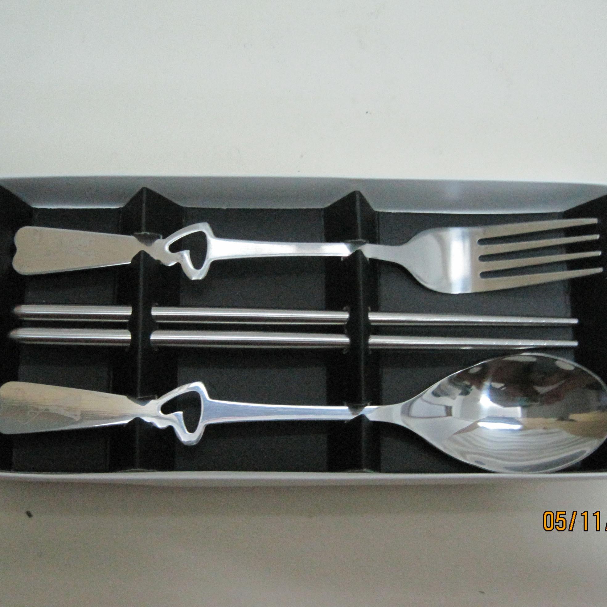 卡通动物餐具盒筷子勺子叉子