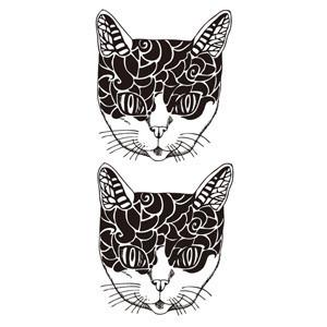 小猫头纹身图案指头上分享展示