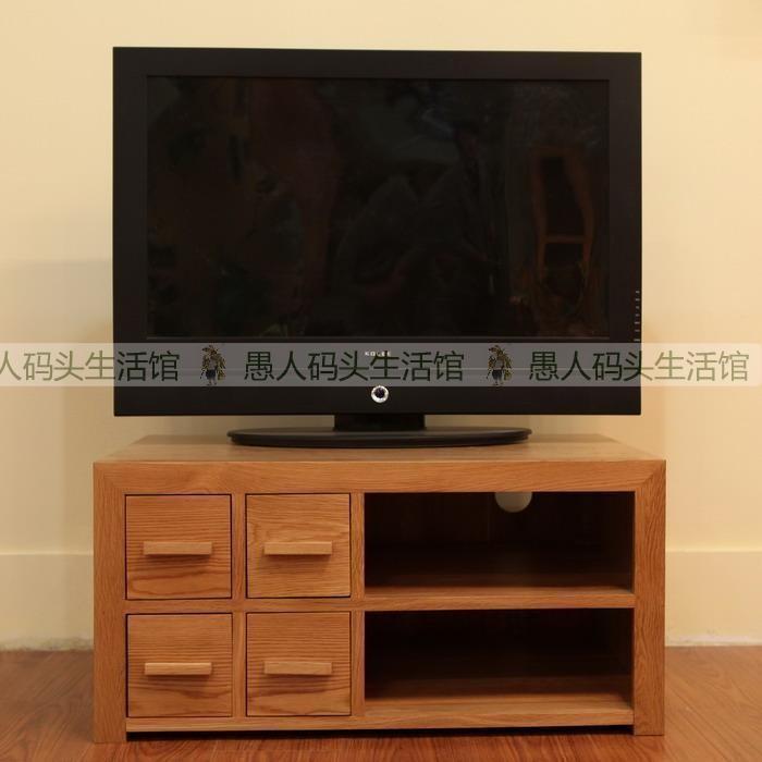 【木e族】全实木家具简约欧式白橡木视听柜卧室电视