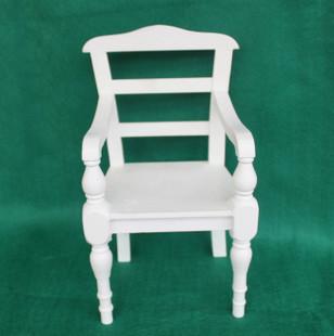bjd 芭比娃娃白色椅子 4分娃娃椅原木手工制作迷你小家具