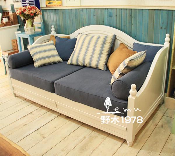 地中海家具 圣托里尼扶手实木沙发 沙发床两用床