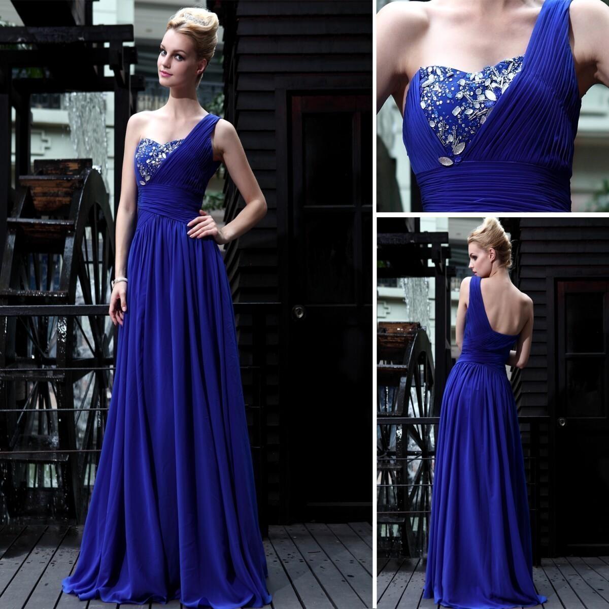 蓝色礼服长款