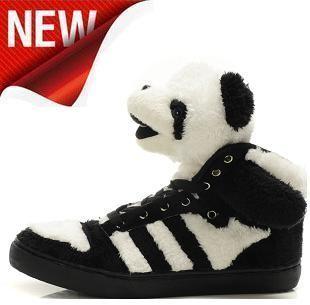 女阿迪达斯adidas三叶草熊猫动物娃女士平底毛绒休闲板鞋女鞋正品
