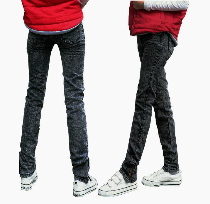 裤脚带扣牛仔裤搭配图片