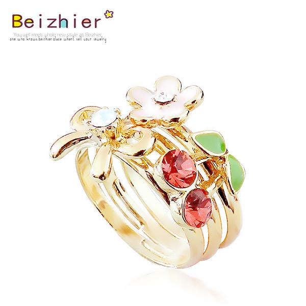 [爱你]甜美樱桃蝴蝶结小花戒指,很精致很漂亮的哦.