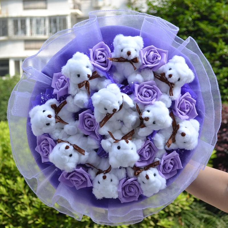 小熊花束泰迪熊花束卡通花束/玩具玩偶公仔花束生日礼物包邮d1