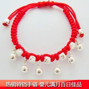 红绳纯银手链搭配图片