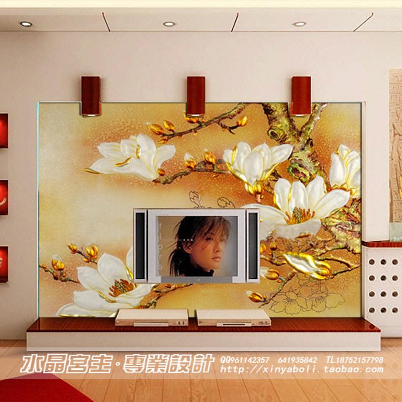 高档雕刻雕花艺术工艺玻璃电视背景墙沙发走道背景玄关隔断玻璃