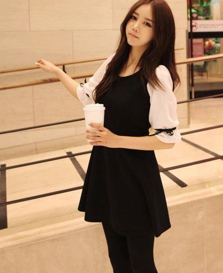 2013春装新款黑白淑女娃娃淑女阁蕾丝韩版雪纺连衣裙