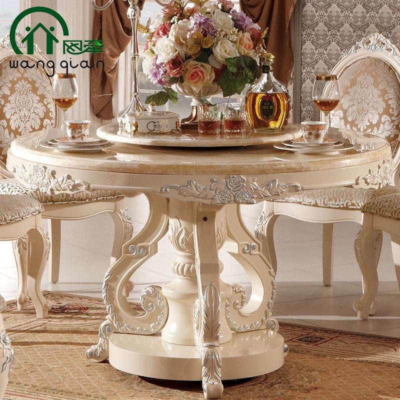 高档餐桌 欧式白色别墅实木餐桌 天然玉石餐桌 餐厅桌