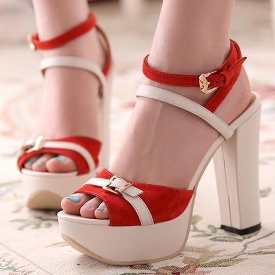 凉鞋女真皮夏漆皮高跟鞋粗跟真皮高跟鞋鱼嘴凉鞋欧美真皮镂空凉鞋