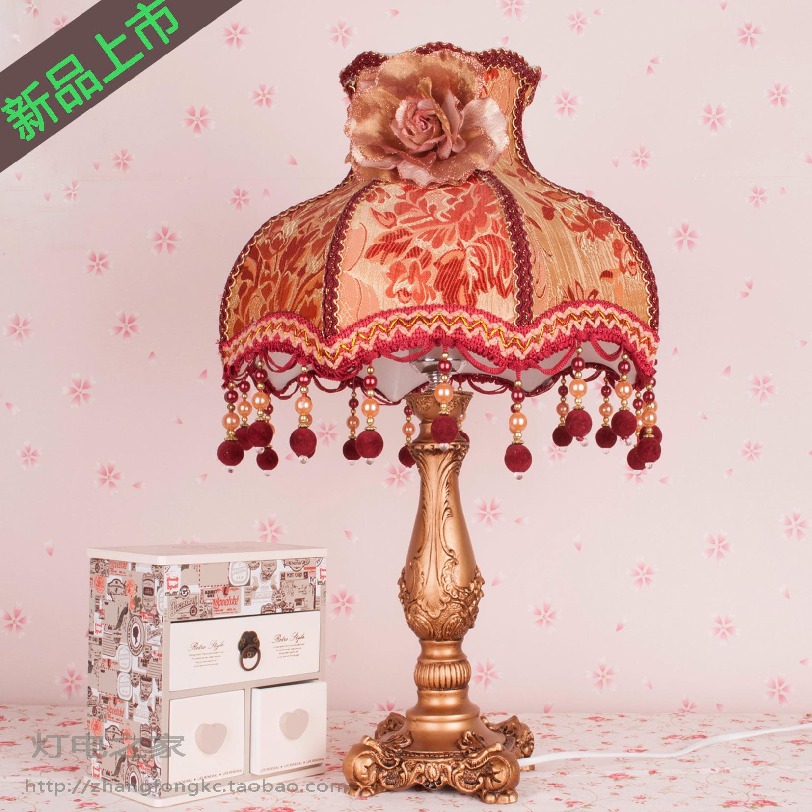 欧式蕾丝台灯床头树脂台灯卧室台灯宫廷台灯布艺台灯