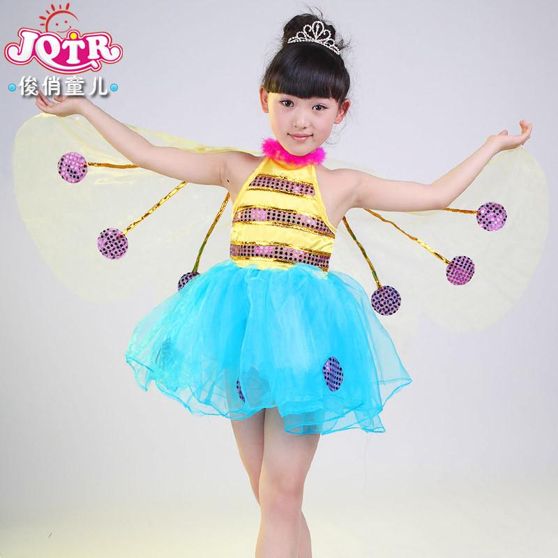 六一儿童演出服装女童动物装小蜜蜂比赛表演服纱裙幼儿舞蹈服纱裙