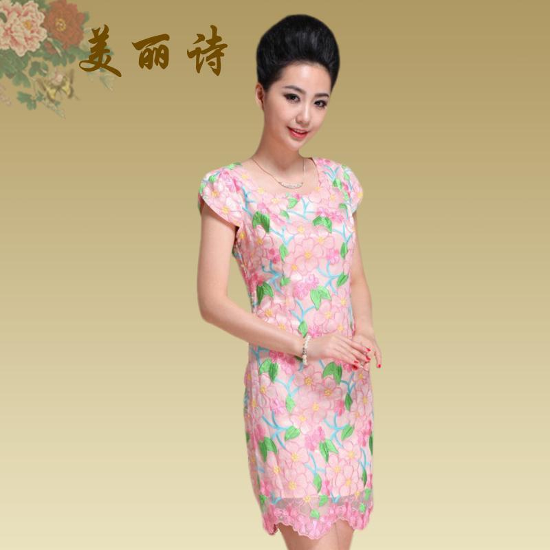 2013夏装新品刺绣花瓣袖铅笔短裙 高档短袖欧根纱绣花修身连衣裙