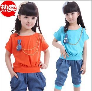 童装女童 夏装2013新款拼牛仔套装夏季短袖t恤哈伦儿童运动服装