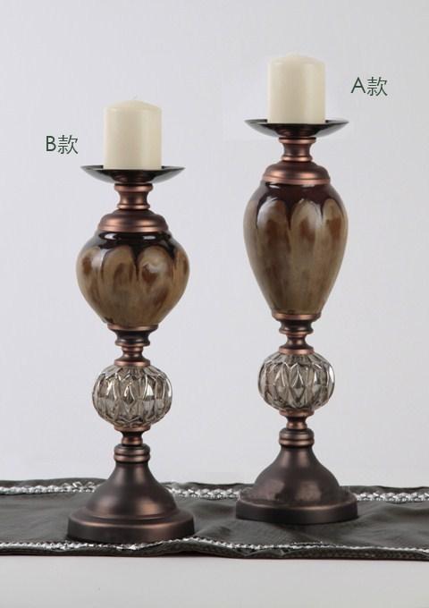 美式新古典风格工艺品/陶瓷烛台摆件/软装配饰家居饰品图片