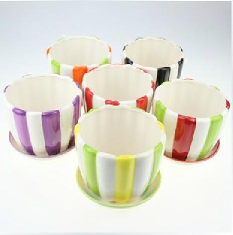 高档欧式条纹花边陶瓷花盆带托盘