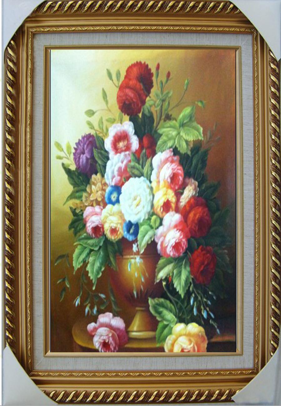 手绘 古典花卉油画写实 欧式客厅玄关餐厅有框无框装饰画竖版招财