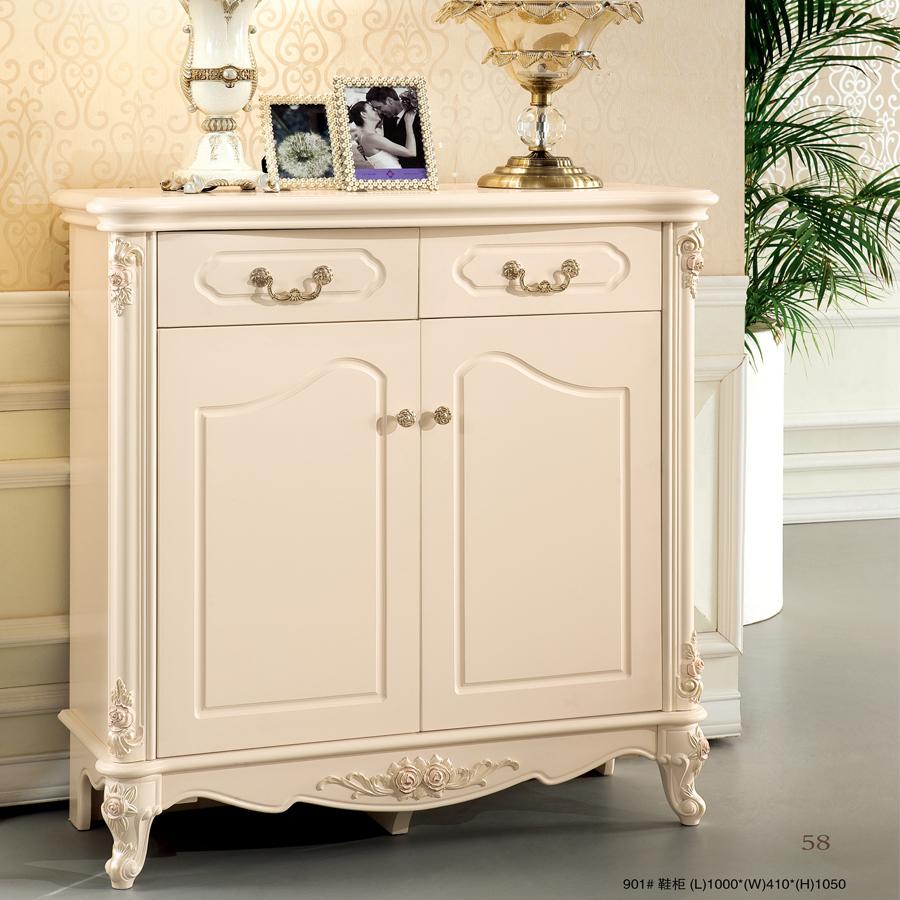 欧式鞋柜 简约实木 雕花奢华鞋柜 烤漆 抽屉柜 储物柜 欧式浪漫风格