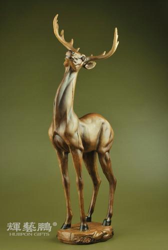 鹿摆件 工艺品 风水仿木雕工艺品鹿 家装饰品 婚庆时尚 结婚礼物
