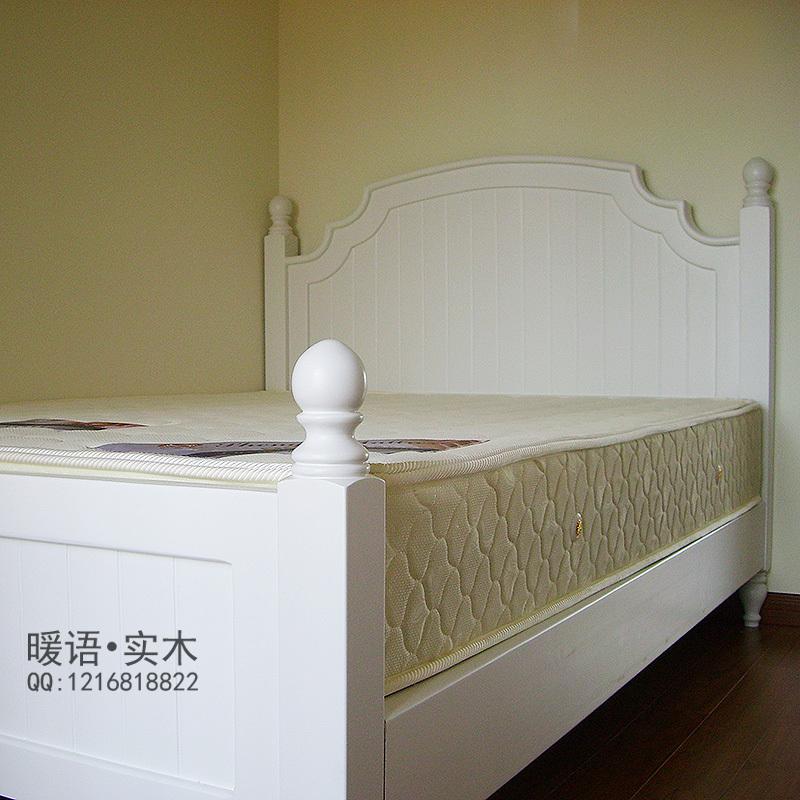 原木家具定制欧式田园白色实木床