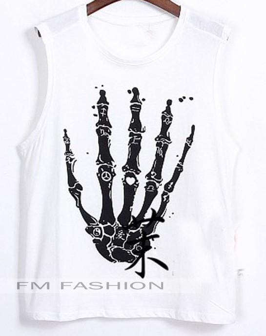 fm 欧美大牌 骷髅手骨图案 宽松无袖背心上衣t恤