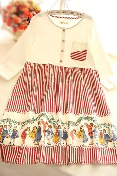 手绘娃娃条纹蕾丝棉vintage复古连衣裙