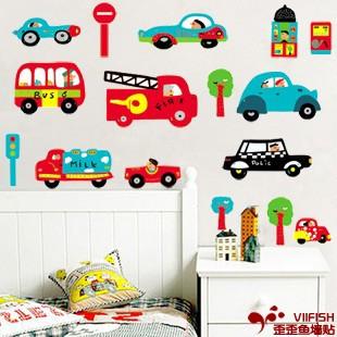 bus站 卡通墙贴画墙壁贴纸 儿童房间装饰贴花幼儿园教室布置汽车图片
