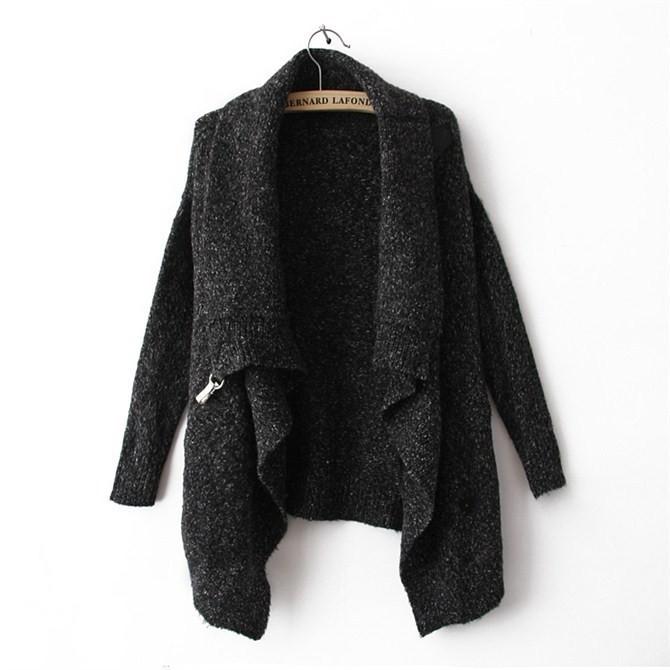 2013秋冬新款hm欧美风蝙蝠袖针织衫宽松大毛衣高领系带中袖开衫女