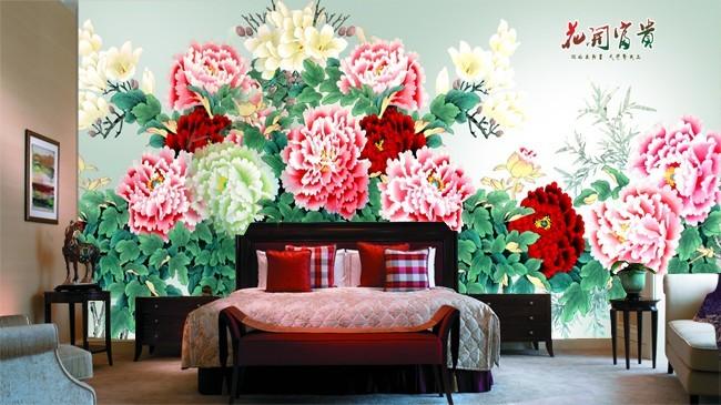 中式壁画牡丹墙纸 高清新款花开富贵壁纸电视背景墙