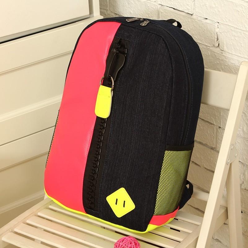 新款电脑包韩版可爱牛仔布撞色学生书包双肩包背包图片