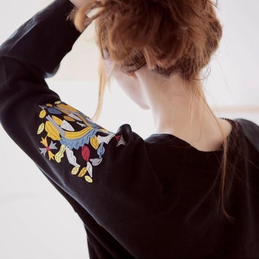 2013韩国代购秋冬女装手臂刺绣花纹图腾民族风长袖