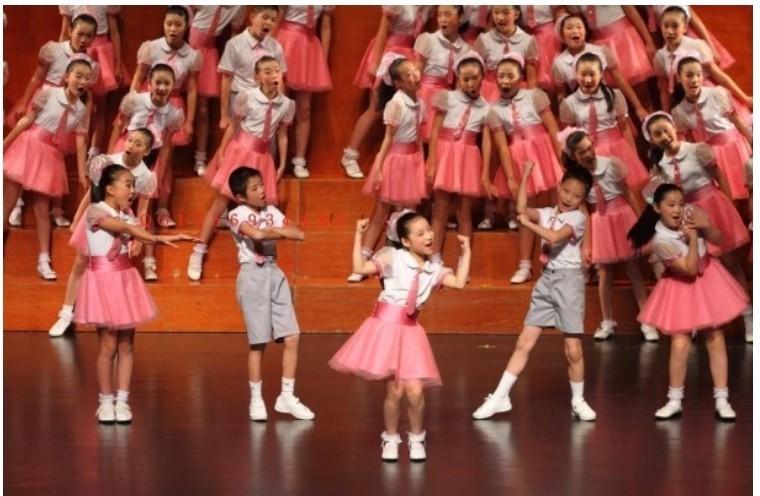 六一儿童表演服大合唱演出服小学生初中生朗诵服舞台粉色演出服装