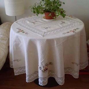 田园圆桌布茶几盖布餐布绣花台布欧式棉麻丝带绣餐桌布全国包邮 (单价