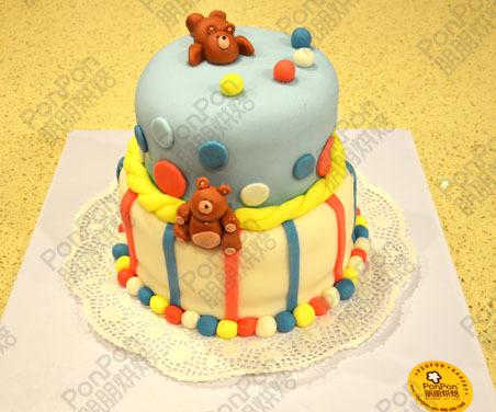 朋朋烘焙 两层可爱宝宝翻糖生日蛋糕 卡通小熊