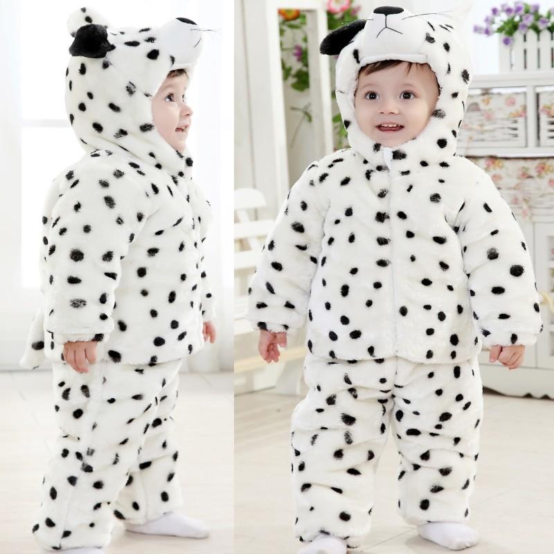 雪豹夹棉宝宝衣服6个月男女婴儿幼儿服装冬装一周岁小童套装e137