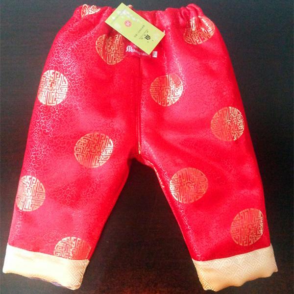 手工制作,全新优质好棉花儿童喜庆唐装配套棉裤