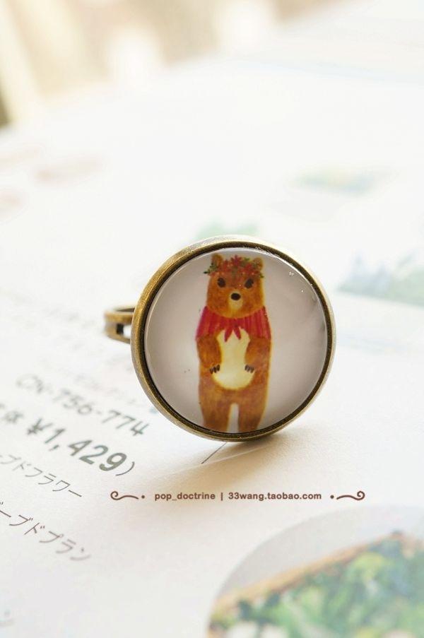 森系水彩童话 披肩小熊 原创手工制作戒指指环首饰 可调大小