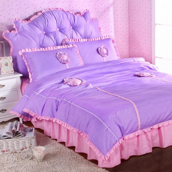 韩式家纺 紫色田园向日葵花公主风床品四件套 韩版全棉床裙 包邮