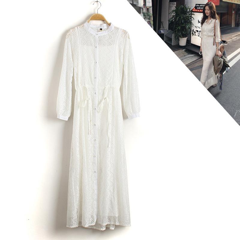 蕾丝长袖连衣裙