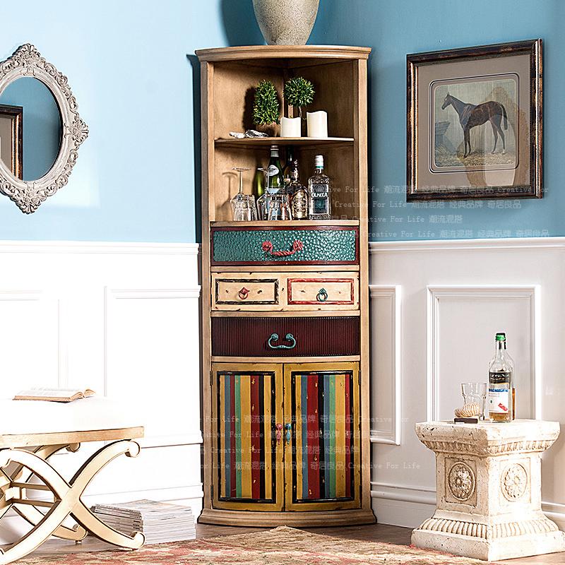 奇居良品欧式复古实木家具 彩色西雅图 客厅餐厅三角柜转角展示柜