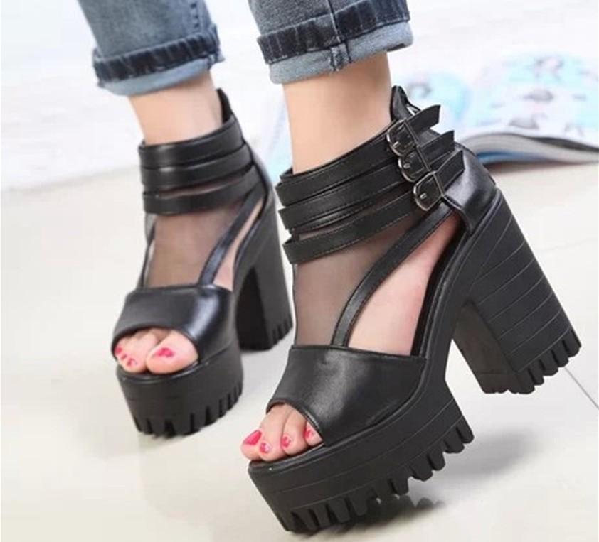 特价2014韩版夏洞洞粗跟高跟鞋罗马风扣带鱼嘴鞋防水台网纱女凉鞋