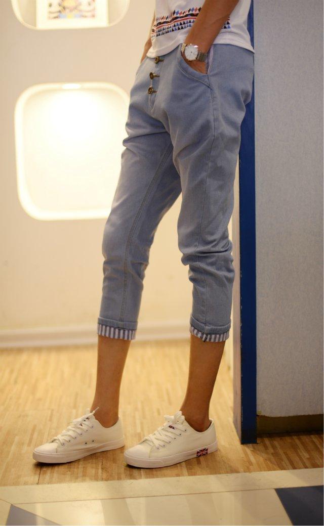 男士牛仔裤夏季韩版九分裤男修身小脚裤9分裤紧身